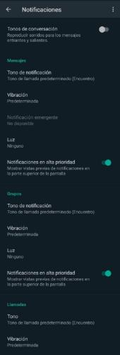 opciones de notificaciones en WhatsApp