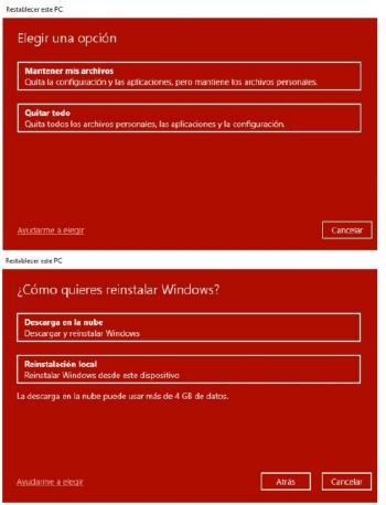 restablecer windows
