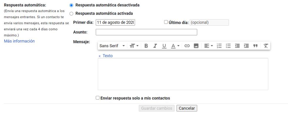 Respuesta automática en Gmail y Outlook