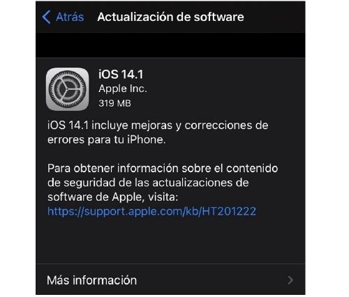mensaje de actualización en iPhone