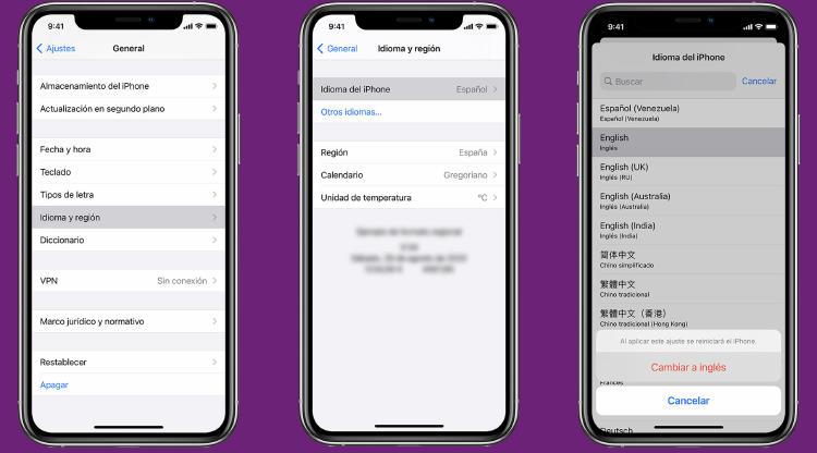 idioma ajustes iphone