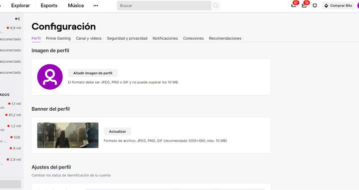 configuración y personalización de Twitch